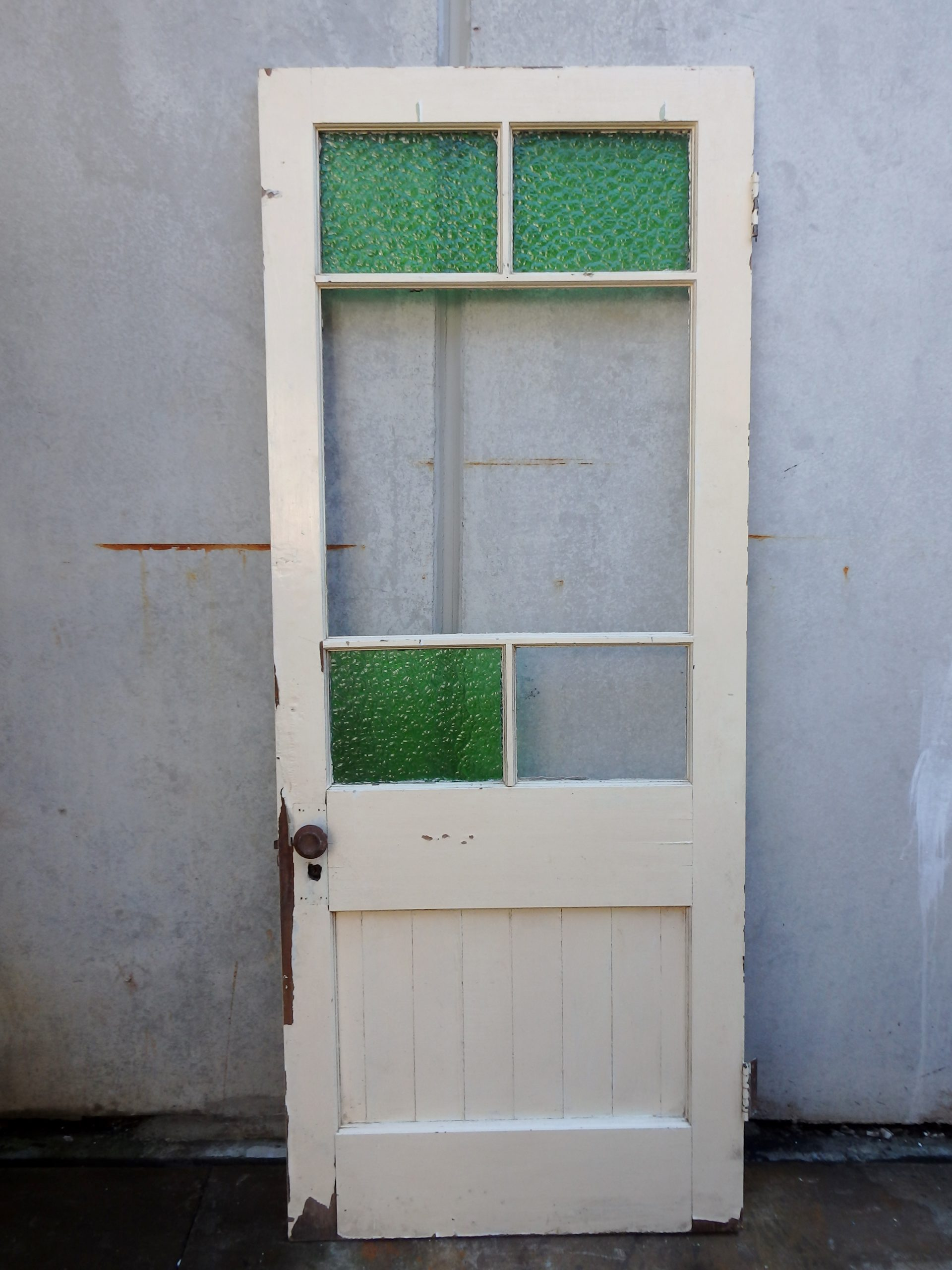 Green glass feature door