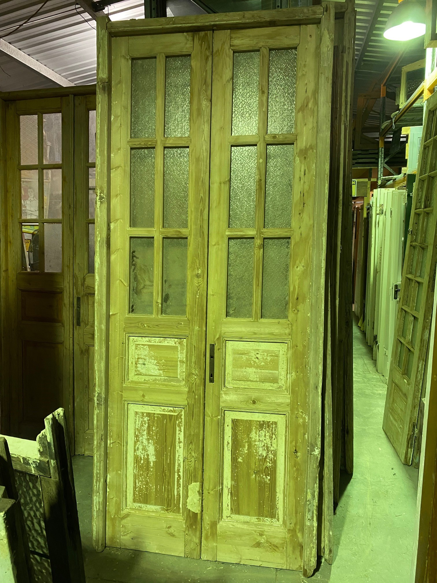 French doors in frame