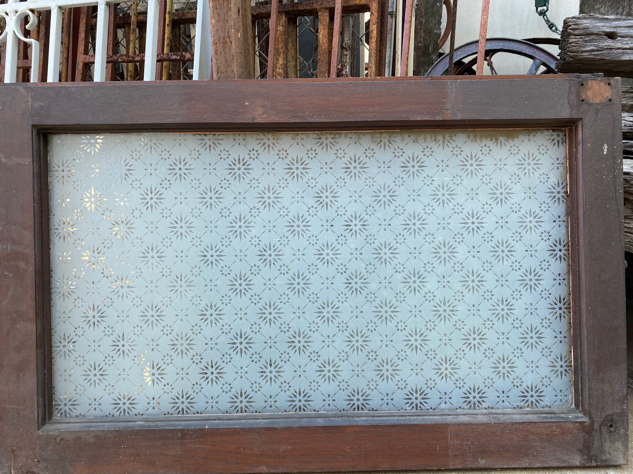 Stenciled Fanlite window
